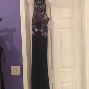 Size 2 Purple and Navy Prom Dress